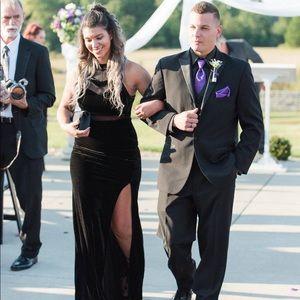 Form fitting, velvet bridesmaid dress